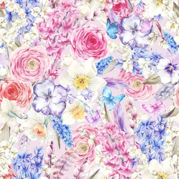 Watercolor Seamless Background, Vintage Flowers