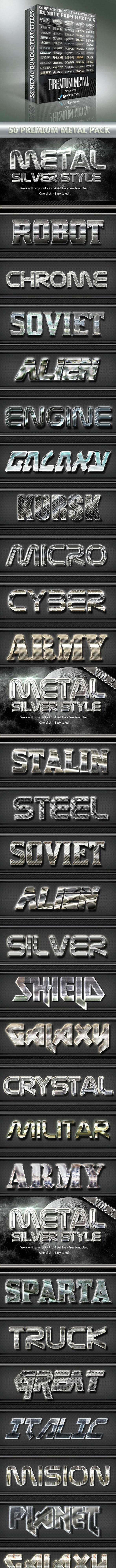 50 Metal Silver Text Effect Style Bundle - Text Effects Styles