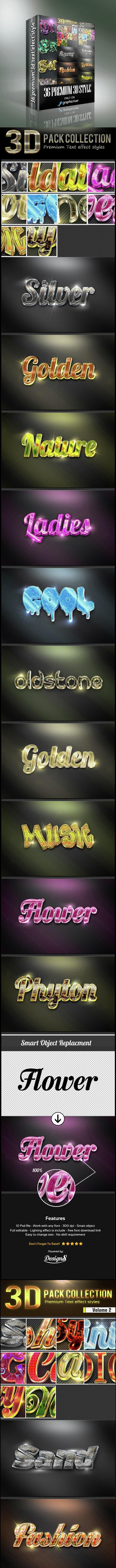 32 Premium 3D Text Efect Styles Bundle - Text Effects Styles
