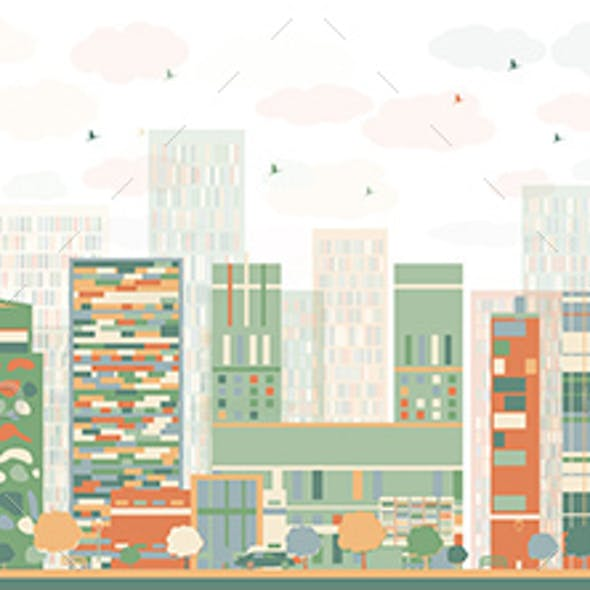 Abstract Oslo Skyline with Color Buildings.