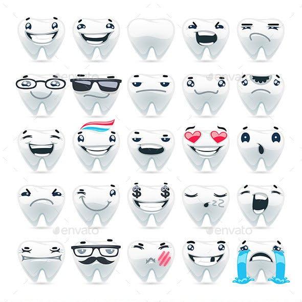 Cartoon Teeth Emoticons