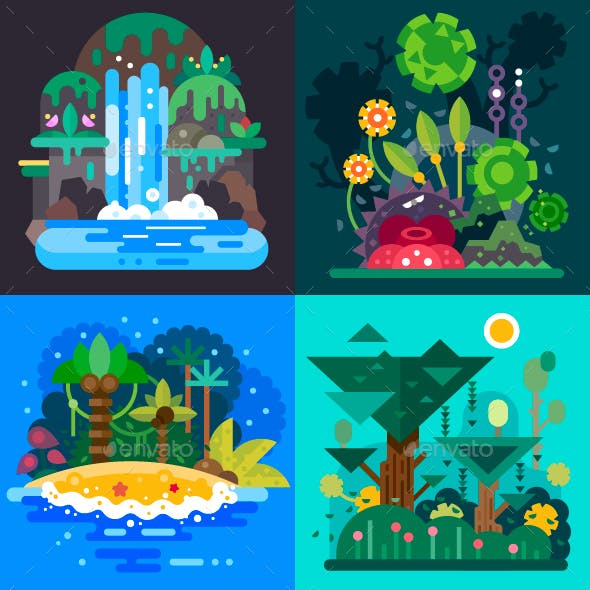 Four Jungle Landscapes.