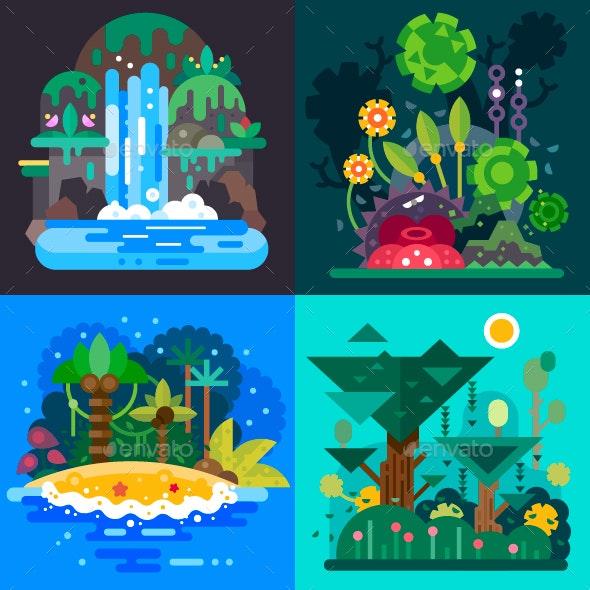 Four Jungle Landscapes. - Flowers & Plants Nature