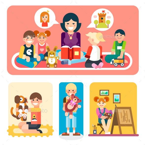 Happy Children in Kindergarten - People Characters