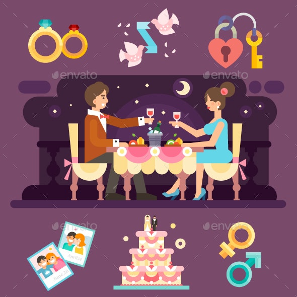 Romantic Dinner of Lovely Couple. - People Characters