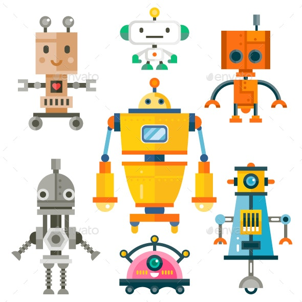 Isolated Robot Set - Computers Technology