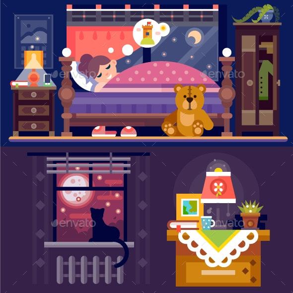 Dreaming Girl In Cozy Bedroom. - People Characters