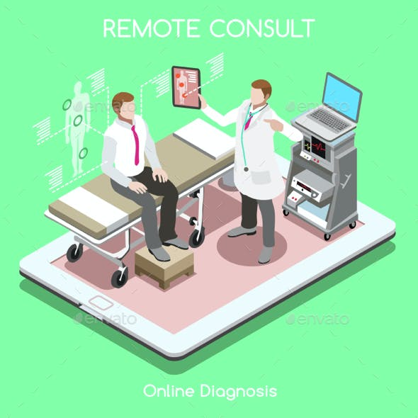 Patient Visit People Isometric