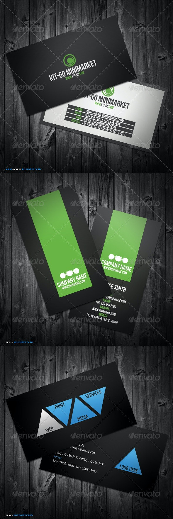 3in1 Business Cards Bundle #5 - Corporate Business Cards