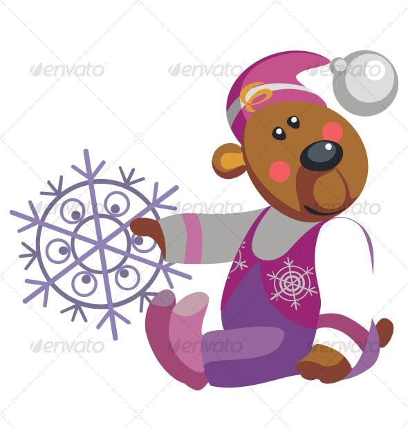 Bear with snowflake color 10 - Christmas Seasons/Holidays