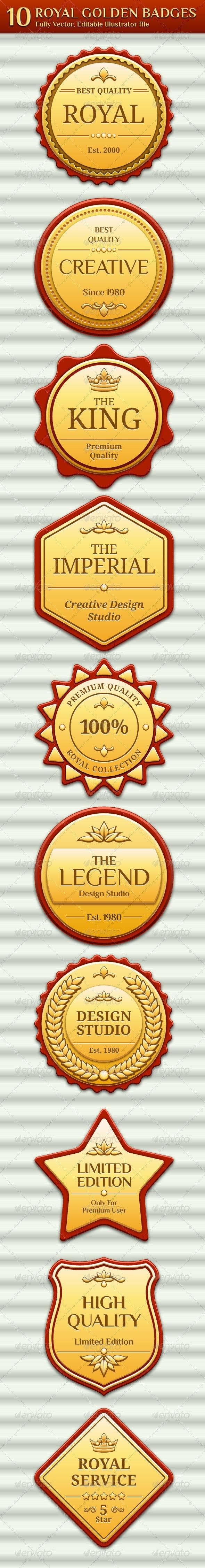 Royal Golden Badges - Badges & Stickers Web Elements