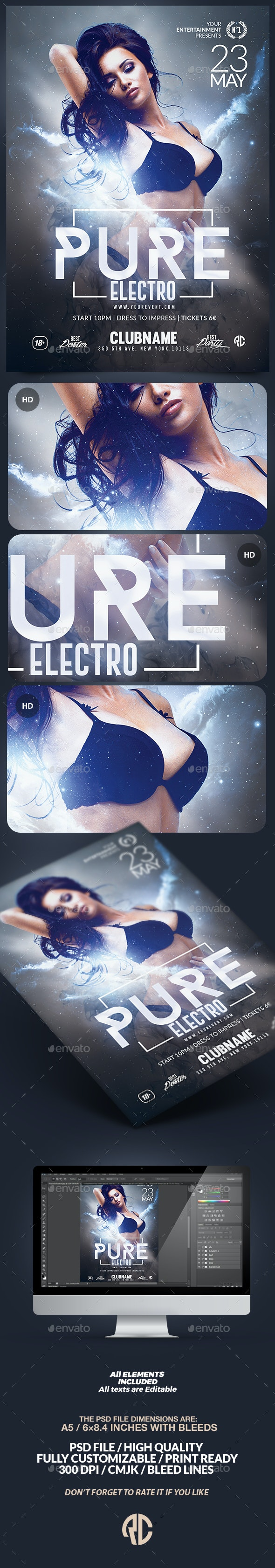 Pure Electro Flyer   Psd Template - Clubs & Parties Events