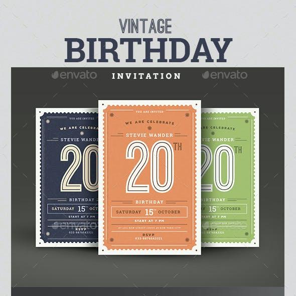 Vintage Birthday Party Invitation/Card