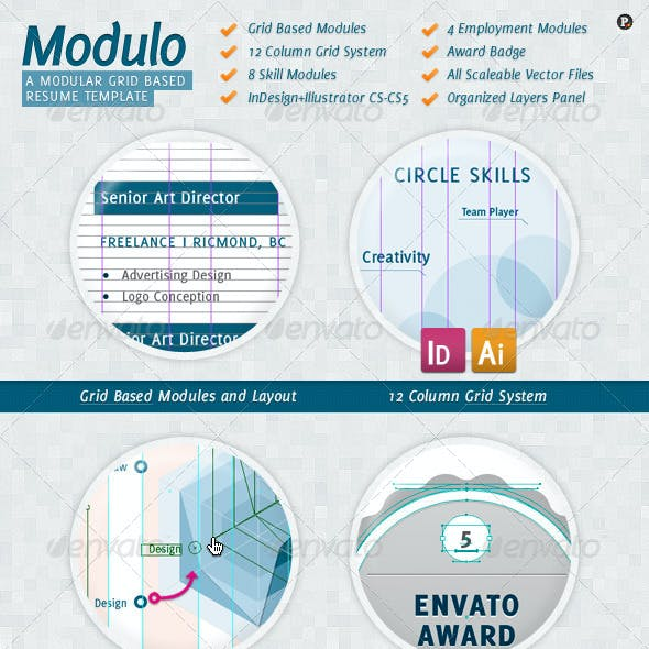 Modulo: Clean Column Grid Resume Template