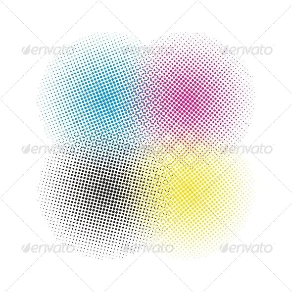 CMYK halftone vector background - Backgrounds Decorative