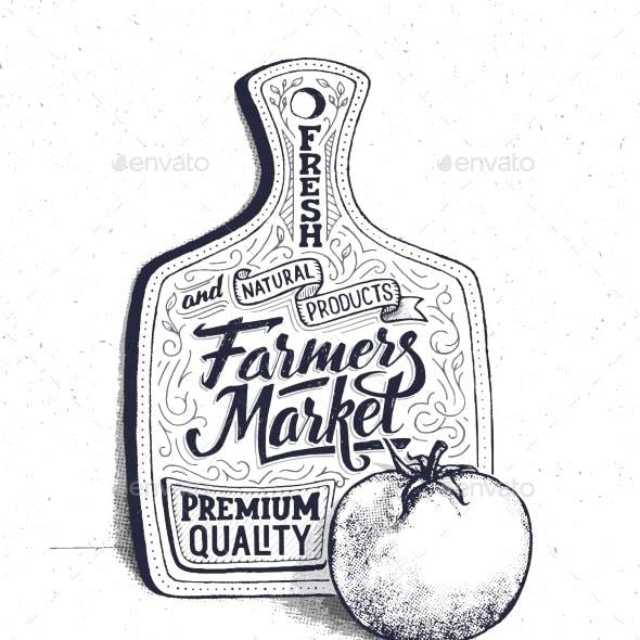 Farmers Market Hand Lettering Vintage Poster
