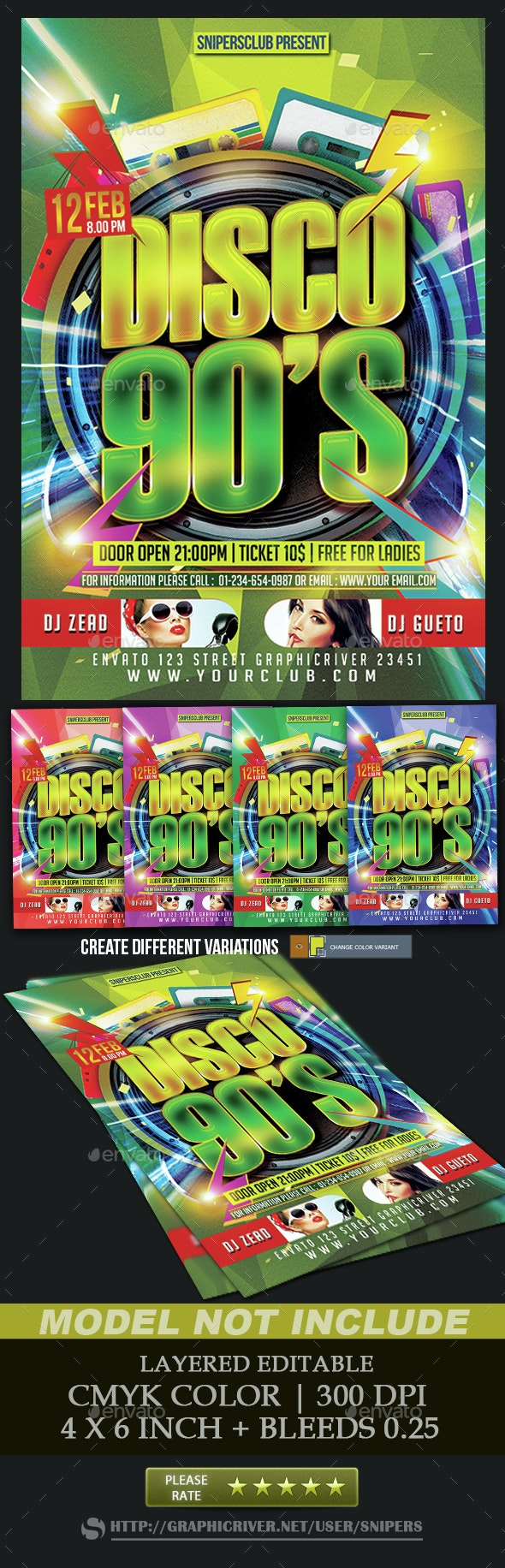 Disco 90's - Events Flyers