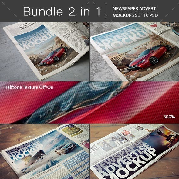 Newspaper Advert Mockups Bundle 2 in 1
