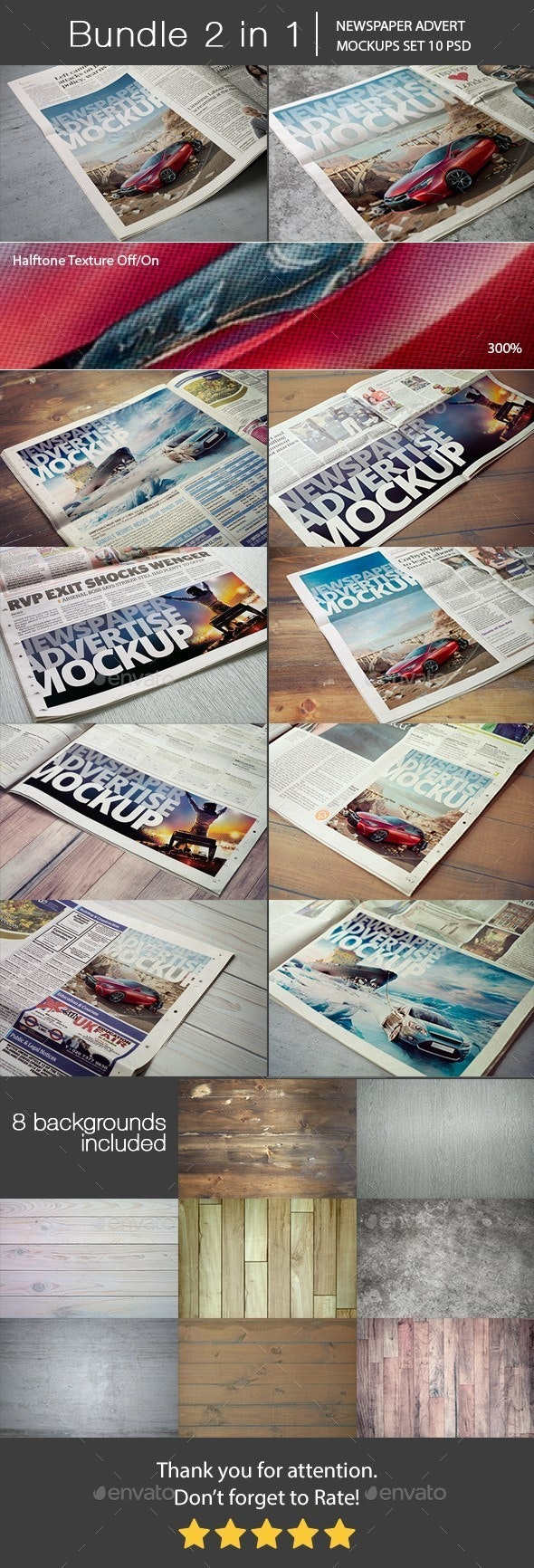 Newspaper Advert Mockups Bundle 2 in 1 - Miscellaneous Print