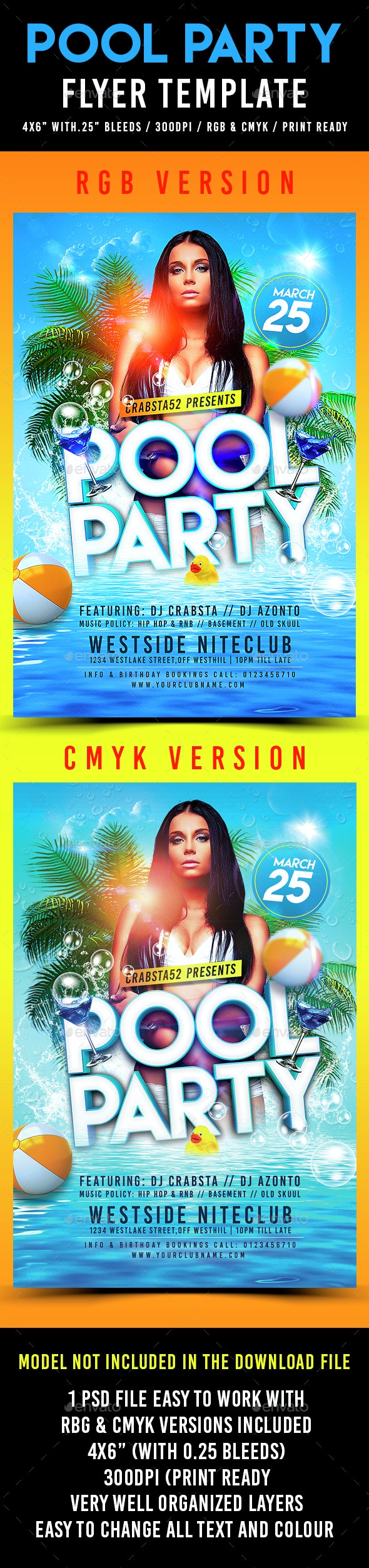 Pool Party Flyer Template - Flyers Print Templates