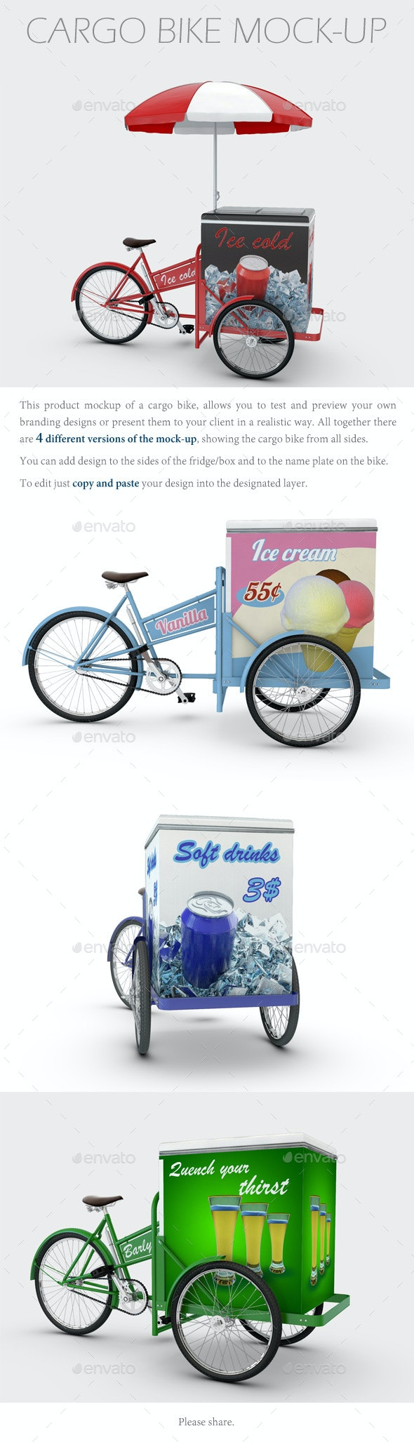 Cargo Bike Mock-Up - Product Mock-Ups Graphics