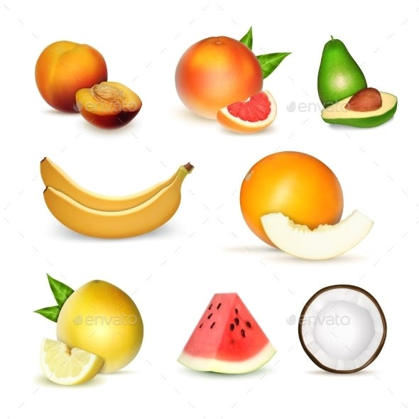 Set of Realistic Fruits