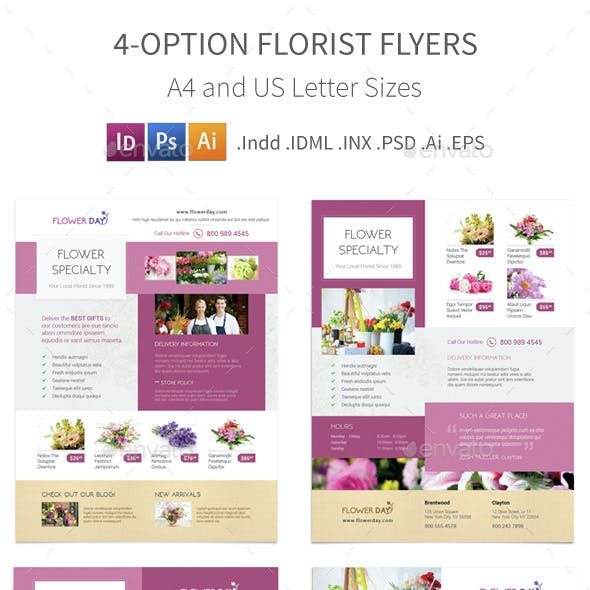Florist Flyers 2 – 4 Options