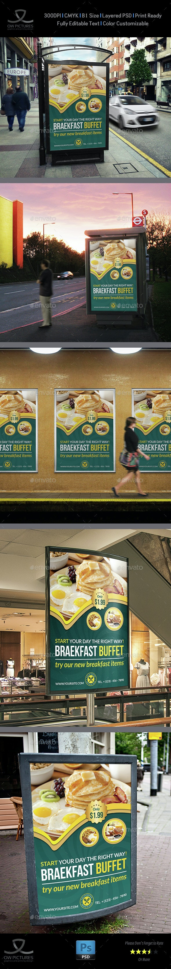 Breakfast Restaurant Poster Template - Signage Print Templates