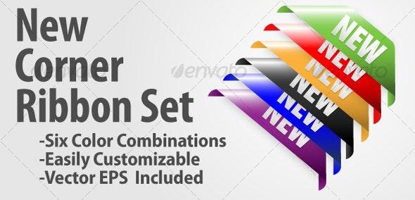 New Corner Ribbon Set - Business Conceptual