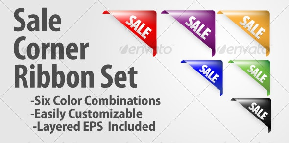 Sale Corner Ribbon Set - Decorative Vectors