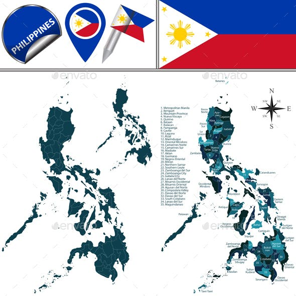 Map of Philippines with Named Regions