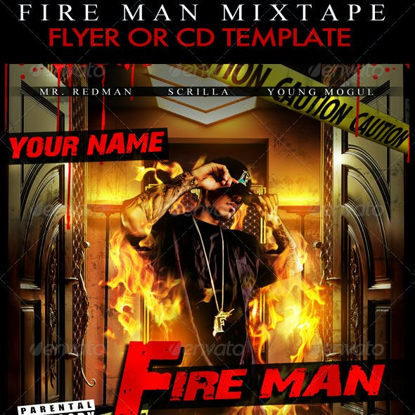 Fire Man Mixtape / Flyer or CD Template