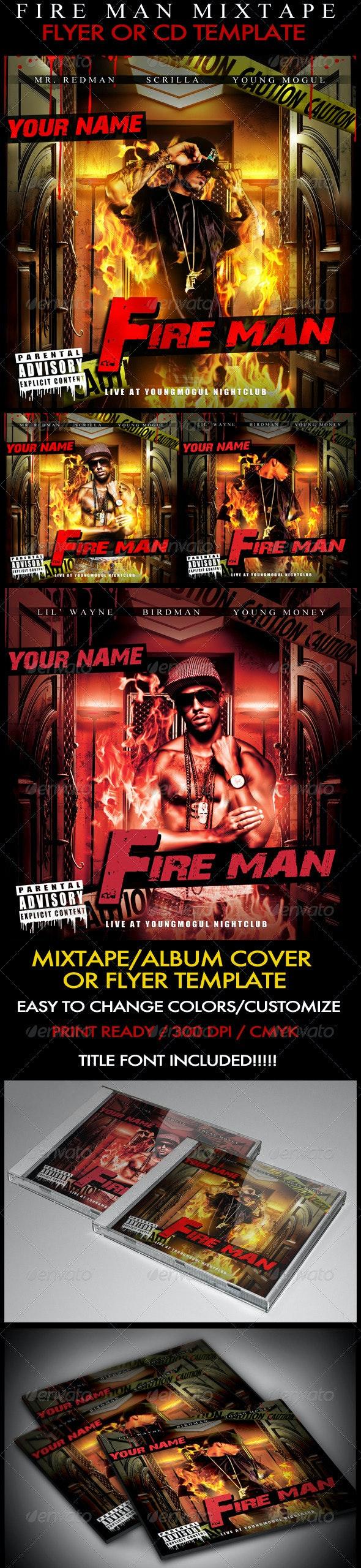 Fire Man Mixtape / Flyer or CD Template - CD & DVD Artwork Print Templates