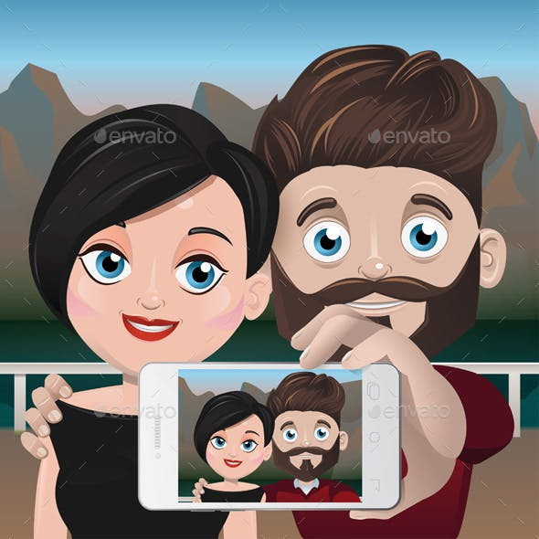 Couple Taking Selfie at the Mountain