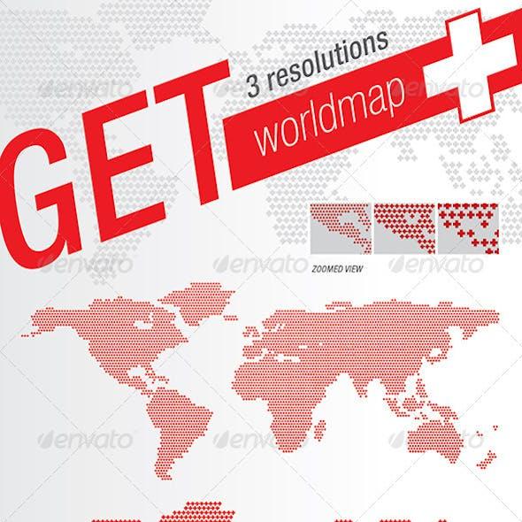 World Map Plus + Crosses