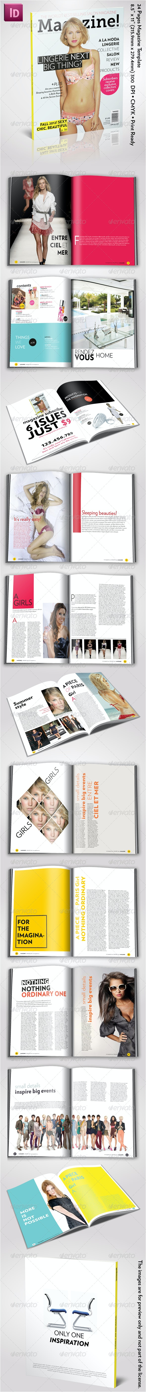 Magazine! 24 Pages InDesign Template - Magazines Print Templates