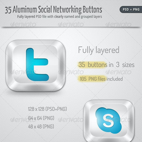Download 30 Aluminum Social Networking Buttons