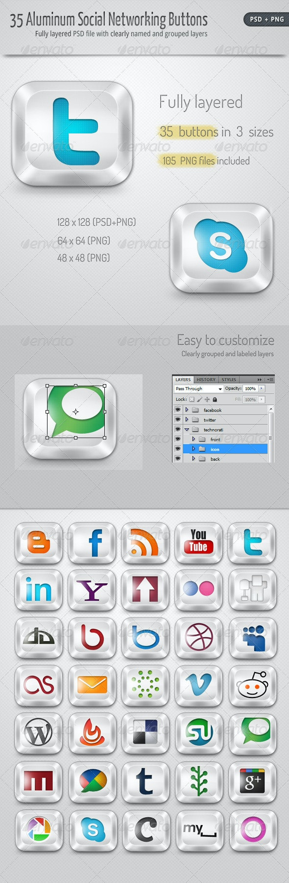 30 Aluminum Social Networking Buttons - Web Icons