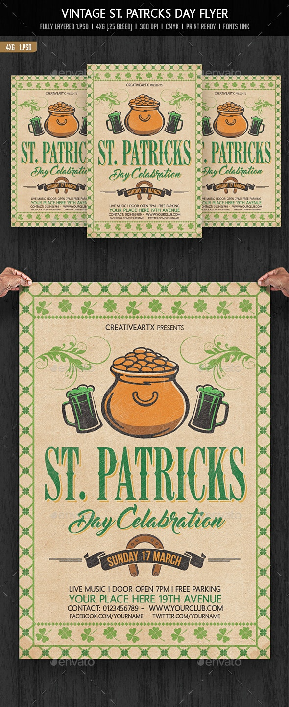 Vintage St. Patricks Day Flyer - Events Flyers