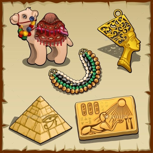 Egyptian Symbols And Toy Camel, Five Items