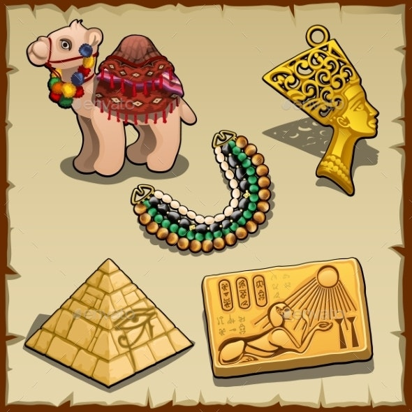 Egyptian Symbols And Toy Camel, Five Items - Backgrounds Decorative