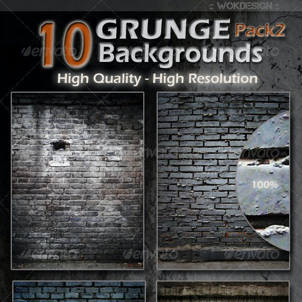 10 Grunge Backgrounds Pack 2