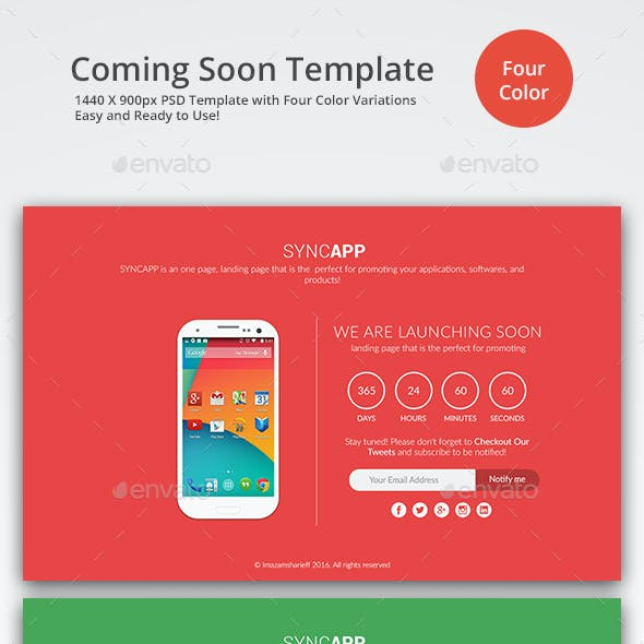 Flat Design Coming Soon Template