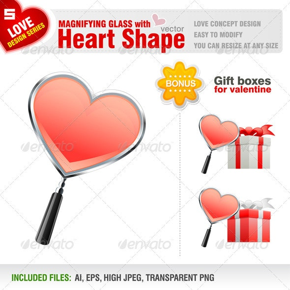 Magnifying Glass with Heart Shape - Valentines Seasons/Holidays