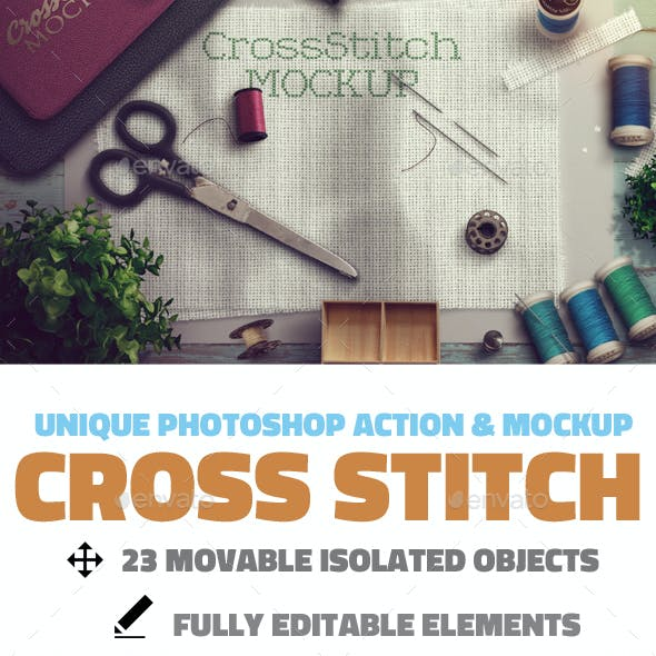 Cross Stitch and Needlepoint Photoshop Mockup