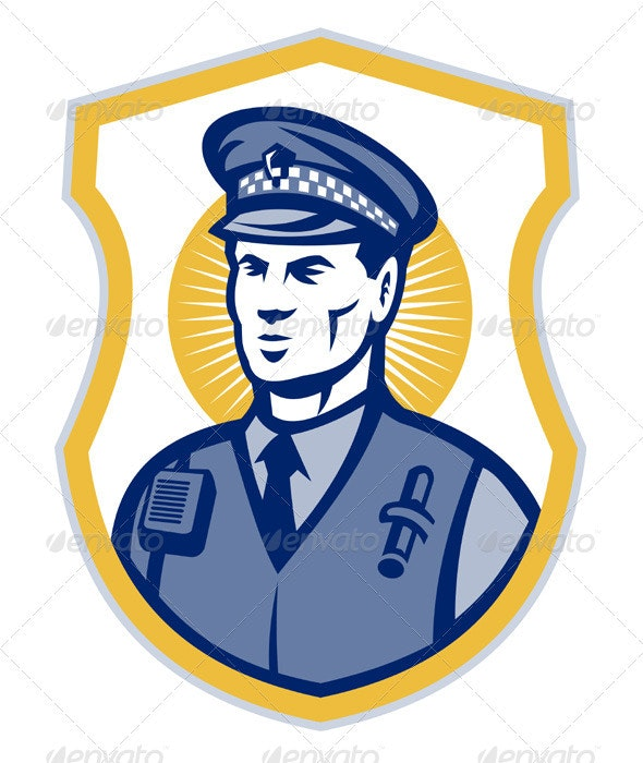 Security Guard Policeman Officer With Shield - Industries Business
