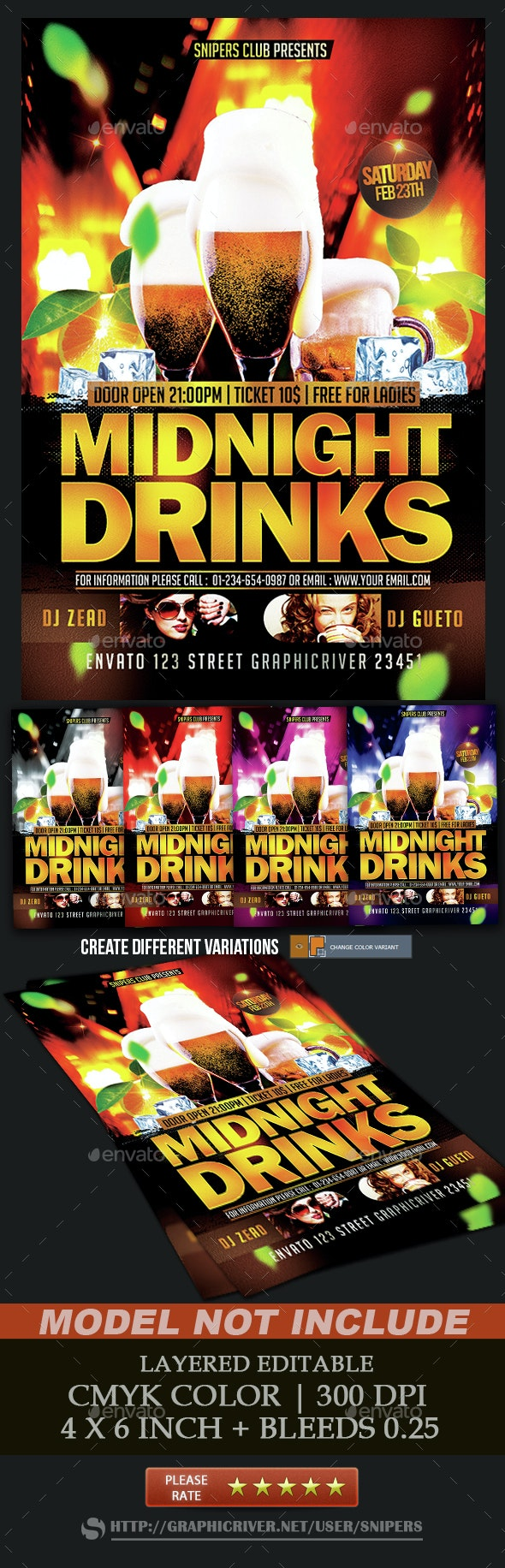 Midnight Drinks - Events Flyers