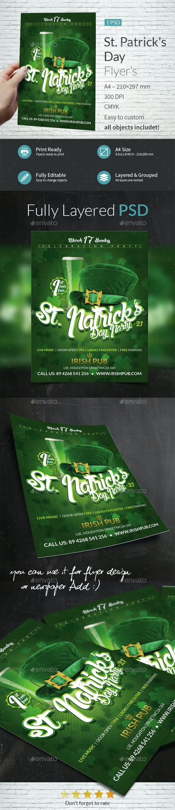 St Patrick Day Party A4 Flyer Template - Events Flyers