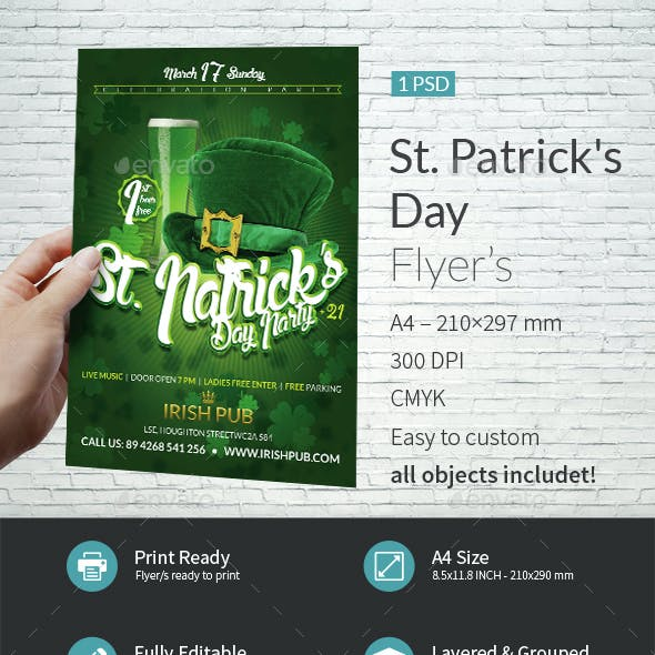 St Patrick Day Party A4 Flyer Template
