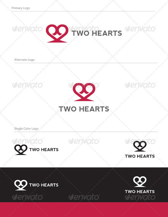 Two Hearts Logo Design - ABS-016 - Symbols Logo Templates